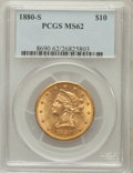 Liberty Eagles: , 1880-S $10 MS62 PCGS. PCGS Population (156/48). NGC Census:(231/39). Mintage: 506,250. Numismedia Wsl. Price for problem f...