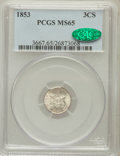 Three Cent Silver: , 1853 3CS MS65 PCGS. CAC. PCGS Population (119/57). NGC Census:(76/43). Mintage: 11,400,000. Numismedia Wsl. Price for prob...