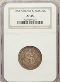 Seated Quarters: , 1853 25C Arrows and Rays XF45 NGC. NGC Census: (107/716). PCGSPopulation (144/675). Mintage: 15,210,020. Numismedia Wsl. P...