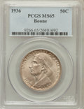 Commemorative Silver: , 1936 50C Boone MS65 PCGS. PCGS Population (739/384). NGC Census:(573/302). Mintage: 12,012. Numismedia Wsl. Price for prob...