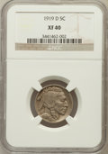 Buffalo Nickels: , 1919-D 5C XF40 NGC. NGC Census: (29/425). PCGS Population (37/607).Mintage: 8,006,000. Numismedia Wsl. Price for problem f...