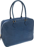 Luxury Accessories:Bags, Hermes 32cm Shiny Blue Jean Porosus Crocodile Plume Bag with GoldHardware. ...