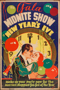 "Gala Midnite Show New Year's Eve (American Display Co. Inc. NYC, 1930s). Poster (40"" X 60""). Miscellaneous..."
