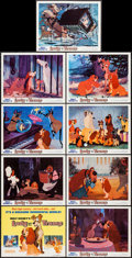 "Movie Posters:Animation, Lady and the Tramp (Buena Vista, R-1971). Lobby Card Set of 9 (11"" X 14""). Animation.. ... (Total: 9 Items)"
