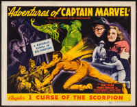 "Adventures of Captain Marvel (Republic, 1941). Title Lobby Card (11"" X 14"") Chapter 1 -- ""Curse of the Sc..."