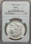 Morgan Dollars: , 1891-CC $1 MS61 NGC. NGC Census: (791/6116). PCGS Population(958/11150). Mintage: 1,618,000. Numismedia Wsl. Price for pro...