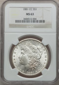 Morgan Dollars: , 1881-CC $1 MS63 NGC. NGC Census: (2042/6329). PCGS Population(4060/12784). Mintage: 296,000. Numismedia Wsl. Price for pro...