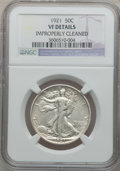 Walking Liberty Half Dollars: , 1921 50C -- Improperly Cleaned -- NGC Details. VF. NGC Census:(17/319). PCGS Population (39/488). Mintage: 246,000. Numism...
