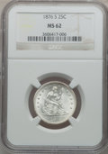 Seated Quarters: , 1876-S 25C MS62 NGC. NGC Census: (44/130). PCGS Population(45/159). Mintage: 8,596,000. Numismedia Wsl. Price for problem ...