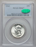 Washington Quarters: , 1943 25C MS67 PCGS. CAC. PCGS Population (81/2). NGC Census:(258/0). Mintage: 99,700,000. Numismedia Wsl. Price for proble...