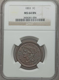 Large Cents: , 1853 1C MS64 Brown NGC. NGC Census: (262/287). PCGS Population(202/94). Mintage: 6,641,131. Numismedia Wsl. Price for prob...