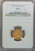 Classic Quarter Eagles: , 1836 $2 1/2 Script 8 XF45 NGC. NGC Census: (176/953). PCGSPopulation (64/328). Mintage: 547,986. Numismedia Wsl. Price for...
