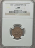 Flying Eagle Cents: , 1858 1C Large Letters AU58 NGC. NGC Census: (6/166). PCGSPopulation (95/1305). Mintage: 24,600,000. Numismedia Wsl. Price...