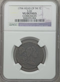 Large Cents: , 1794 1C Head of 1794 -- Corrosion -- NGC Details. VG. S-42. PCGSPopulation (16/513). Numismedia Wsl. ...