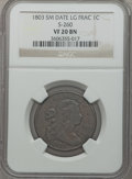 Large Cents: , 1803 1C Small Date, Large Fraction VF20 NGC. S-260. NGC Census:(1/7). PCGS Population (15/111). Numismedia Wsl. Price fo...