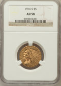 Indian Half Eagles: , 1916-S $5 AU58 NGC. NGC Census: (605/950). PCGS Population(215/791). Mintage: 240,000. Numismedia Wsl. Price for problem f...