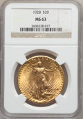 Saint-Gaudens Double Eagles: , 1928 $20 MS63 NGC. NGC Census: (15016/21017). PCGS Population(12730/24914). Mintage: 8,816,000. Numismedia Wsl. Price for ...