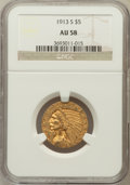 Indian Half Eagles: , 1913-S $5 AU58 NGC. NGC Census: (639/377). PCGS Population(173/294). Mintage: 408,000. Numismedia Wsl. Price for problem f...
