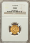 Liberty Quarter Eagles: , 1904 $2 1/2 MS66 NGC. NGC Census: (192/105). PCGS Population(178/44). Mintage: 160,700. Numismedia Wsl. Price for problem ...