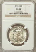 Walking Liberty Half Dollars: , 1934 50C MS65 NGC. NGC Census: (590/389). PCGS Population(814/581). Mintage: 6,964,000. Numismedia Wsl. Price for problem...