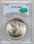 Peace Dollars: , 1925 $1 MS66 PCGS. CAC. PCGS Population (1466/77). NGC Census:(1723/66). Mintage: 10,198,000. Numismedia Wsl. Price for pr...