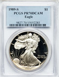 Modern Bullion Coins: , 1989-S $1 Silver Eagle PR70 Deep Cameo PCGS. PCGS Population (588).NGC Census: (825). Mintage: 617,694. Numismedia Wsl. Pr...