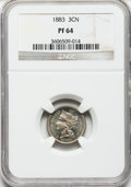 Proof Three Cent Nickels: , 1883 3CN PR64 NGC. NGC Census: (314/875). PCGS Population(463/917). Mintage: 6,609. Numismedia Wsl. Price for problemfree...