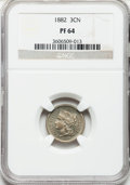 Proof Three Cent Nickels: , 1882 3CN PR64 NGC. NGC Census: (161/633). PCGS Population(219/695). Mintage: 3,100. Numismedia Wsl. Price for problemfree...