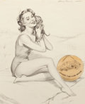 Pin-up and Glamour Art, HARRY EKMAN (American, 1923-1999). Pin-Up with Puppy,preliminary sketch. Pencil on vellum. 21 x 17 in.. Signed upperri...