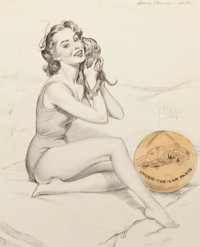 HARRY EKMAN (American, 1923-1999) Pin-Up with Puppy, preliminary sketch Pencil on vellum 21 x 17