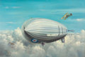 Pulp, Pulp-like, Digests, and Paperback Art, PETERSON (American, 20th Century). Zeppelin Airship. Oil oncanvas. 24.5 x 36 in.. Signed lower left. ...