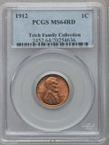 Lincoln Cents: , 1912 1C MS64 Red PCGS. PCGS Population (238/320). NGC Census:(89/82). Mintage: 68,153,056. Numismedia Wsl. Price for probl...