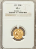 Indian Quarter Eagles: , 1925-D $2 1/2 MS61 NGC. NGC Census: (2866/15062). PCGS Population(1303/9369). Mintage: 578,000. Numismedia Wsl. Price for ...