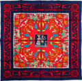 "Luxury Accessories:Accessories, Hermes Red & Navy ""Early America,"" by Francoise de la Perriere Silk Scarf. ..."