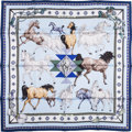 "Luxury Accessories:Accessories, Hermes Light Blue & White ""Les Chevaux Qataris,"" Hubert de Watrigant Silk Scarf. ..."