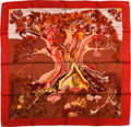 "Luxury Accessories:Accessories, Hermes Red & Brown ""Kuggor Tree,"" by Sefedin Kwumi Silk Scarf...."