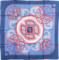 """Luxury Accessories:Accessories, Hermes Periwinkle & Pink """"Washington's Carriage,"""" by Caty Latham Silk Scarf. ..."""