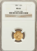 Gold Dollars: , 1861 G$1 MS61 NGC. NGC Census: (312/758). PCGS Population(117/656). Mintage: 527,499. Numismedia Wsl. Price for problemfr...