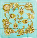 "Luxury Accessories:Accessories, Hermes Mint & Gold ""Cendrillon,"" by Karin Swildens Silk Scarf...."
