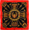 "Luxury Accessories:Accessories, Hermes Black, Red & Gold ""Egypte,"" by Caty Latham Silk Scarf...."