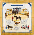 "Luxury Accessories:Accessories, Hermes Yellow & White ""Les Haras Nationaux,"" by Hubert de Watrigant Silk Scarf. ..."