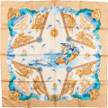 "Luxury Accessories:Accessories, Hermes Blue & Gold ""Balade Oceane,"" by Julia Abadie Silk Scarf. ..."