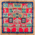 "Luxury Accessories:Accessories, Hermes Red, Navy & Gray ""Torana,"" by Annie Faivre Silk Scarf. ..."