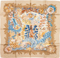 "Luxury Accessories:Accessories, Hermes Tan & Blue ""L'Ile Deserte,"" by Annie Faivre Silk Scarf...."