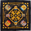 "Luxury Accessories:Accessories, Hermes Black & Gold ""Les Tambours,"" by Joachim Metz Silk Scarf...."