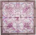 "Luxury Accessories:Accessories, Hermes Mauve & Gray ""Les Chants du Henne,"" by LaurenceBourthoumieux Silk Scarf. ..."
