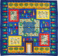 "Luxury Accessories:Accessories, Hermes Blue, Yellow & Red ""Paridaiza,"" by Eugene Brunelle SilkScarf. ..."