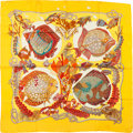 "Luxury Accessories:Accessories, Hermes Yellow & Red ""Grands Fonds,"" by Annie Faivre Silk Scarf...."