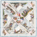 """Luxury Accessories:Accessories, Hermes Pink, Gray & Light Blue """"Voyages Slaves,"""" by LoicDubigeon Silk Scarf. ..."""