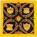 "Luxury Accessories:Accessories, Hermes Black & Gold ""Carrosses d'Or,"" by Vladimir RybaltchenkoSilk Scarf. ..."